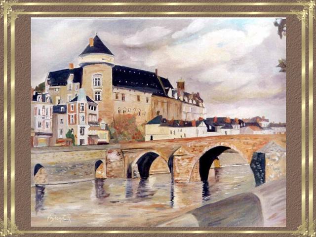 Le Vieux Pont à Laval, œuvre de Philippe Poydenot
