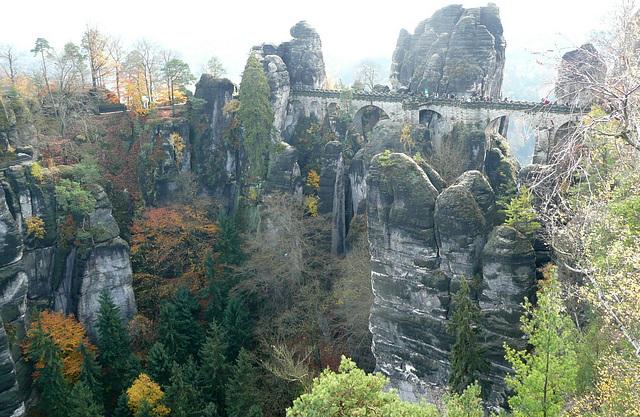 Blick auf die  Basteibrücke - Oktober 2008