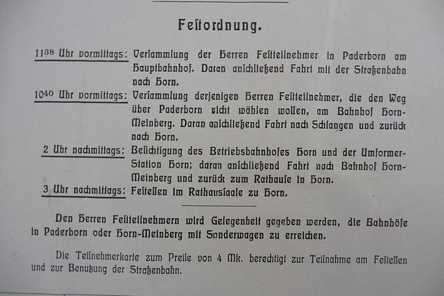 Die Festordnung zur Eröffnung am 30.März 1912