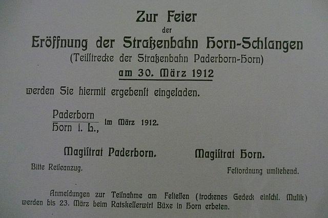 Die Eröffnung der Straßenbahnlinie Paderborn - Horn 1912