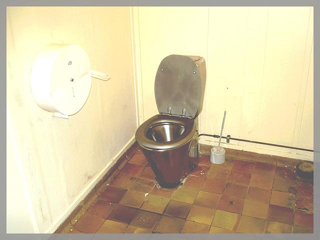 WC en argent ou illusion d'optique ?  - Silver toilet bowl optical illusion ? Trône argenté ! Gare / Train station