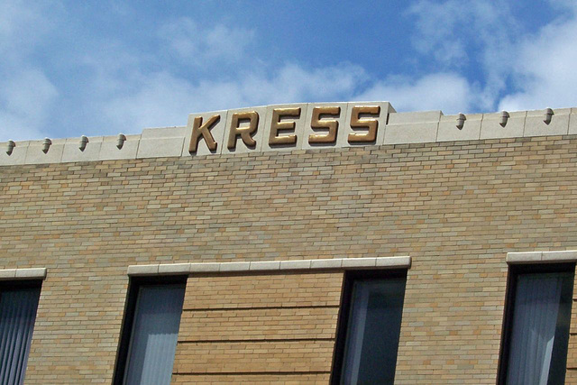 old Kress department store building, detail