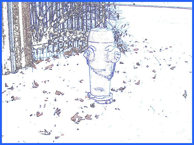Borne à incendie dans le blanc. Hydrant in a white world -  Dans ma ville - Hometown.