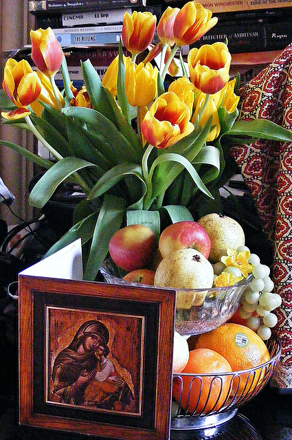 Still life with Madonna and Child
