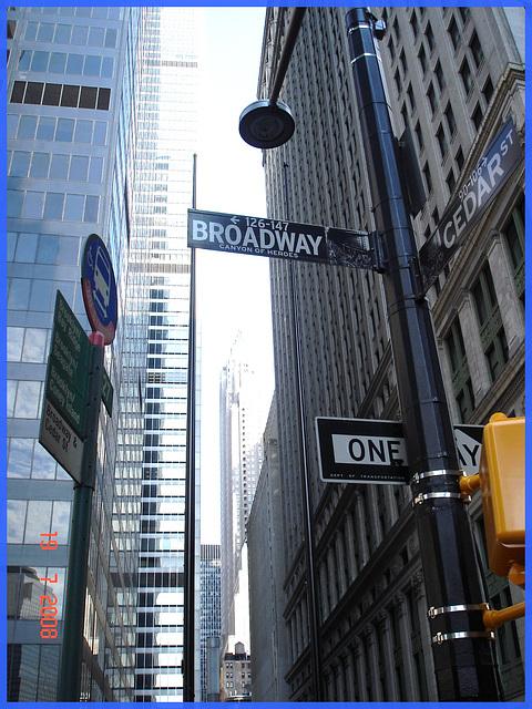 Perspective en hauteur sur Broadway -Broadway Cedar upper building perspective- NYC.
