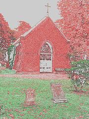Cimetière de Helsingborg /  Helsingborg cemetery-  Suède / Sweden- Chapel / Chapelle-  Contours en couleur.