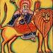 Icône éthiopienne : Prophète chevauchant un lion