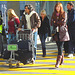 High heeled Boots and tights on yellow lines -  Bottes à talons hauts et collants sur lignes jaunes- Aéroport de Montréal. 18/10/2008