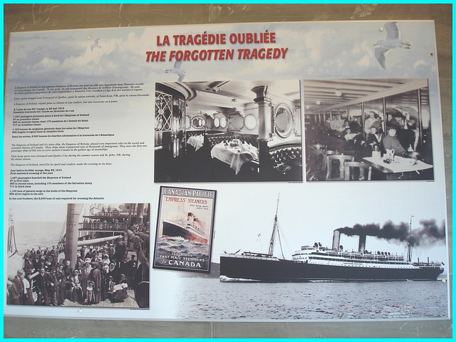 Express of Ireland - La tragédie oubliée- The forgotten tragedy - Musée de Pointe-au-Père, Québec. CANADA.  23 juillet 2005.