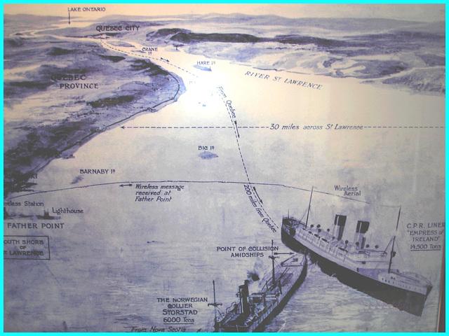 Express of Ireland - Le trajet des navires- The ship's routes / Musée de Pointe-au-Père, Québec. Canada. 23 juillet 2005.