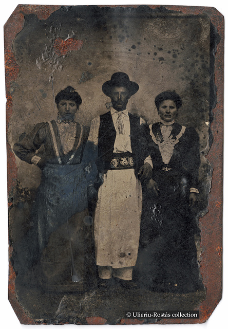 Ferrotype of three (Bucharest?) suburbanites
