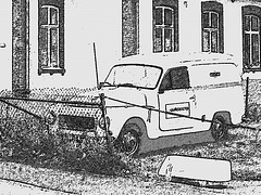 Fyren and yellow Volvo - Båstad, Sweden- October 21th 2008 / Fusain. Charcoal drawing.