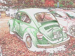 Vol Volkswagen beetle- Gare de Båstad  /  Båstad train station- Suède /  Sweden - 22 octobre 2008 -Photofiltre- Contours en couleur.