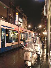 Amsterdam- Mcdo Scooters and Tram- Novembre 2007.