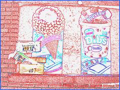 Frozen advertising & Mailboxes / Publicité glaçée et boîtes à courrier  !!  Dépanneur du Québec / General store in Quebec - Contours de couleurs.
