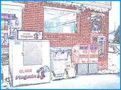 Pingouin / Recyclage / La Poste /  Téléphone - Dépanneur du Québec / General store in Quebec - 7 décembre 2008 / Contours de couleurs.