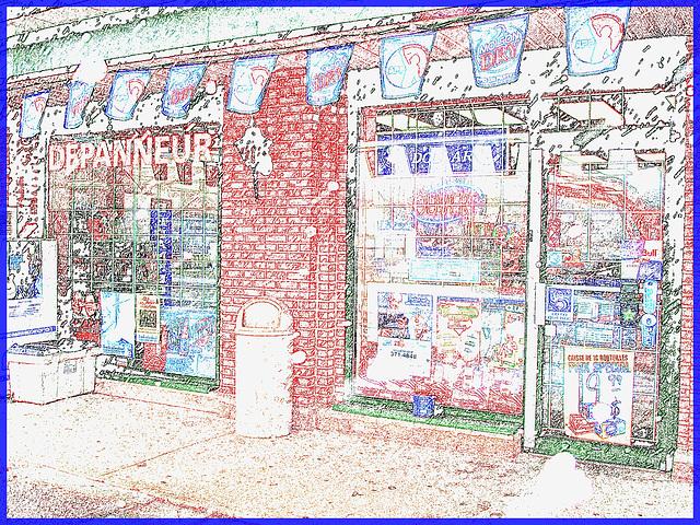 Dépanneur typique du Québec / Typical general store in Quebec - Dans ma ville / Hometown. 7 décembre 2008 /  Contours de couleur.