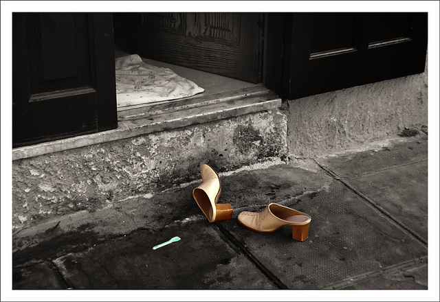 Two shoes and a plastic spoon.....