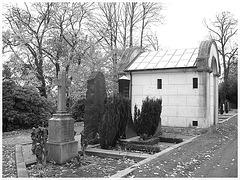 Cimetière de Helsingborg - Helsingborg cemetery -  Suède / Sweden - Up the hill - En haut de la colline / 22 octobre 2008 / Noir & blanc.