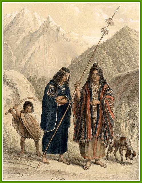 Famille Mapuche au XIXème siècle, Chili