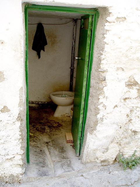Old house cretan toilet with drain