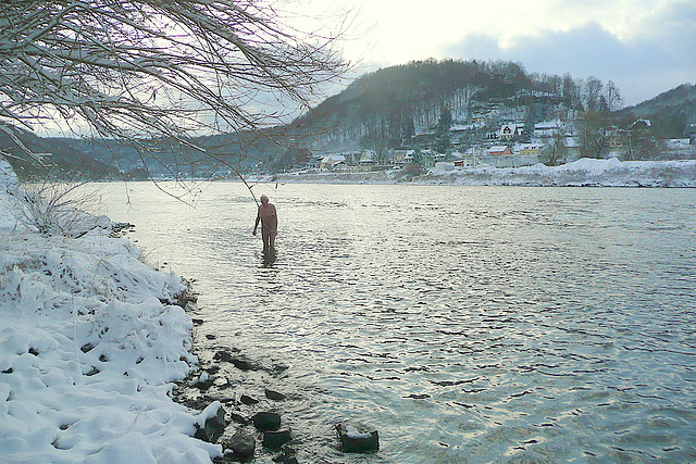 Winterliches Fußbad in der Elbe