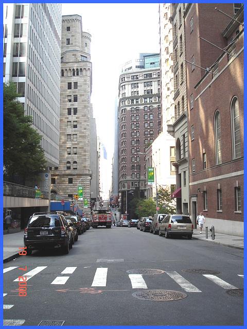 Au feu !!!!  Fire truck on cedar street- NYC.