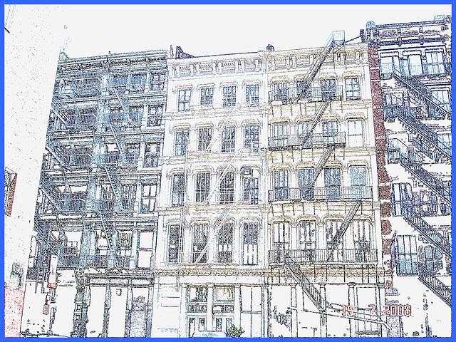 Windows & fire escapes- Fenêtres et escaliers de secours.Photofiltre- Contours encrés. Inked outlines effect.