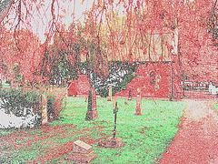 Cimetière de Helsingborg / Suède - Brick chapel- Chapelle de briques / 22 octobre 2008. Contours en couleurs.