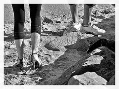 Ester's sandy dancing heels candid shot -  Talons hauts dansant dans le sable-  Dancing in the sand- Avec  / With permission -  Photofiltre en noir et blanc  / In black & white