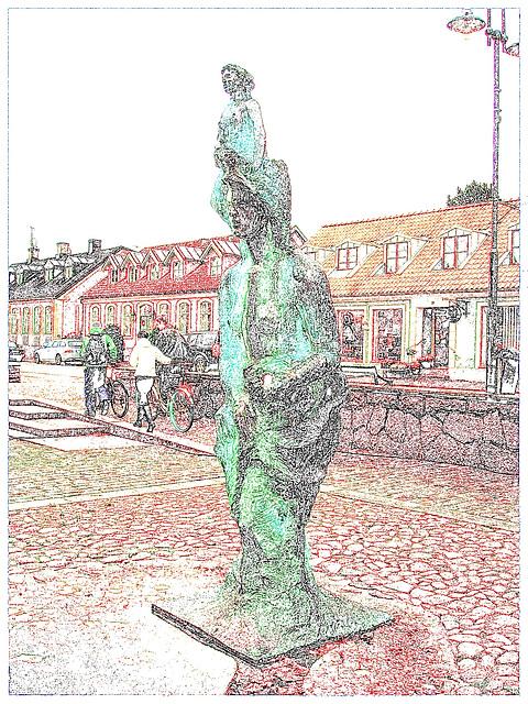 Photofiltre - Contours en couleur - Déesse de Båstad - Suède / Sweden.