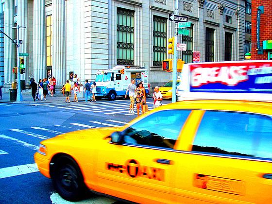 New-York city  - Lee Starsberg street yellow cab. NYC. July 2008.