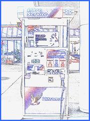 Ultramar.  Photofiltre en dessin.  Ultramar -  Chaîne de stations-service au Québec /  Famous gas stations in Quebec, CANADA. Dans ma ville / Hometown.