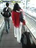 Black Goddess in white stilettos shoes -  Déesse noire en escarpins blancs et vertigineux - Aéroport de Bruxelles