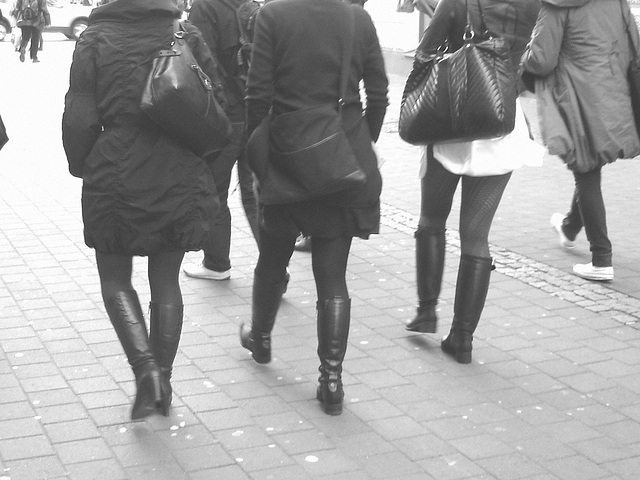 7 Eleven Swedish Quatuor in various footwears - Helsingborg / Sweden.  October 22th 2008- B & W