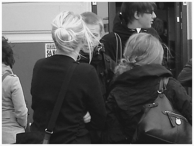 7 Eleven Swedish blond duo in dominatrix and flat leather Boots - Helsingborg / Sweden.  October 22th 2008.- B & W