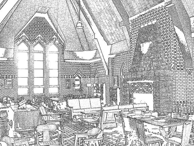 Abbaye de St-Benoit-du-lac au Québec - 7 février 2009  - Contours en noir / Contours noirs