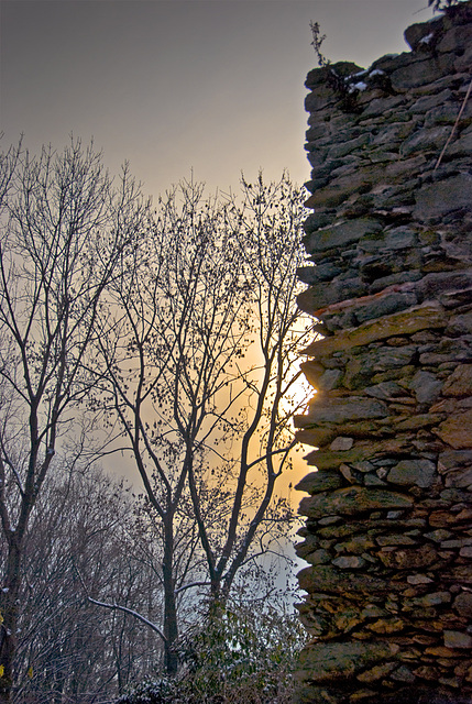 Sun Behind Ruins