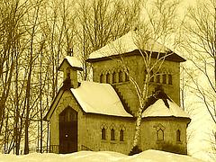 Tour St-Benoit de l'abbaye de St-Benoit-du-lac  /  Québec. CANADA - Février 2009  -  Sepia