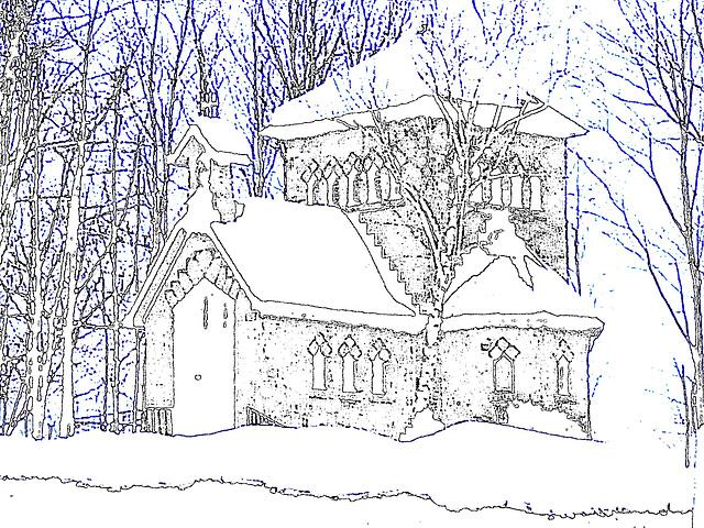 Tour St-Benoit de l'abbaye de St-Benoit-du-lac  /  Québec. CANADA - Février 2009 -  Contours de couleurs / Colourful outlines