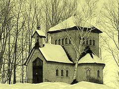 Tour St-Benoit de l'abbaye de St-Benoit-du-lac  /  Québec. CANADA / 6 février 2009 -  Photo ancienne  / Vintage artwork