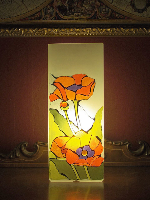 Glass-mosaic lamp by SLC mosaic artist Donna Pence