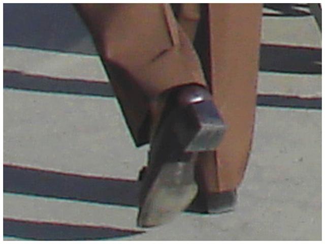 Mature in long pants and chunky heels -  Mature en souliers à gros talons carrés-  PET Montreal airport.
