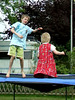 Lina and Torben jumping on a trampoline. Well, and Lina - ahm - flying of it.
