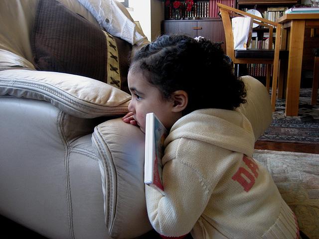 Rafaela, watching a DVD movie