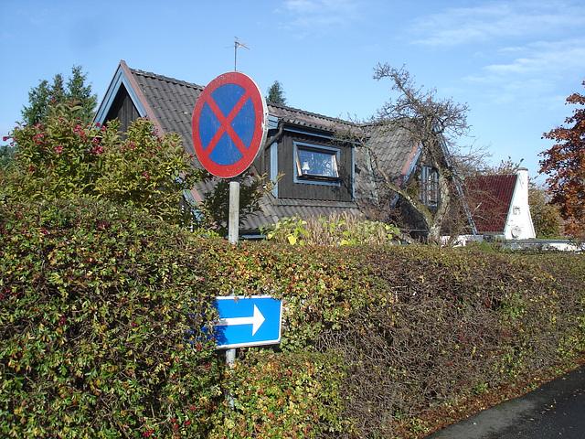 Flèche bleue vers somptueuse propriété suédoise /  Blue arrow toward a sumptuous swedish house -  Båstad  / Suède - Sweden.  Octobre 2008