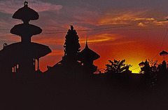 Silhouette of Balinese tempel