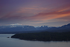Sunset over Vancouver Island, Denman Island