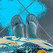 Avec / with permission /  Ma bien-aimée amie Chris - Couleurs estivales et sandales dorées.  Négatif et tache bleue ajouté