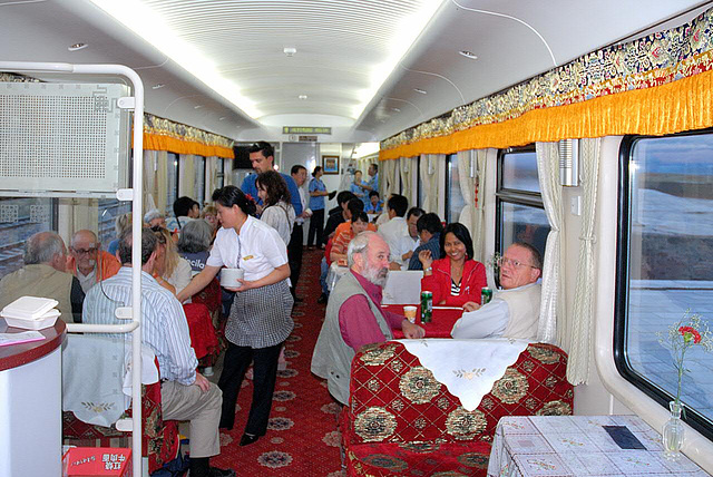 Inside the dining coach